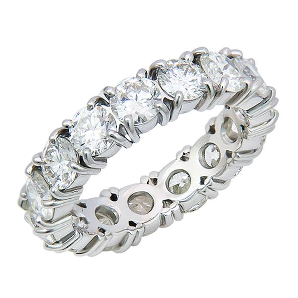 View Custom Made Four Prong Diamond Eternity Band Set in Platinum
