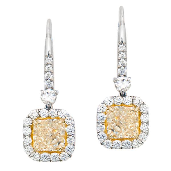 View Custom Made GIA Certified Fancy Light Yellow and White Diamond with a Euro Style Backing Set in Platinum and 18K Yellow Gold