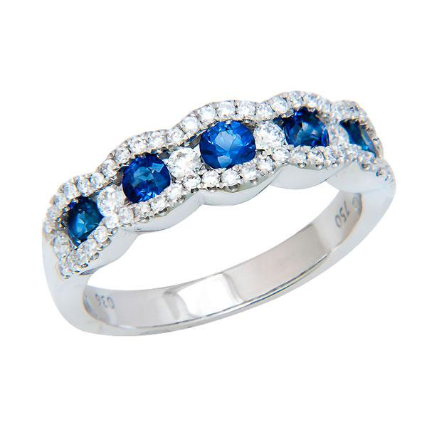 View Sapphire and Diamond Band Set in 18K White Gold