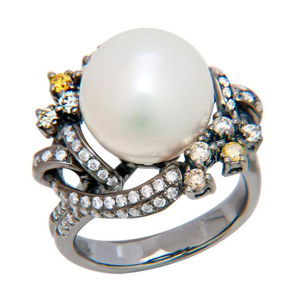View 12.50MM South Sea Pearl Ring with Fancy Yellow and White Diamond set in 18K White Gold Dipped in Black Rodium