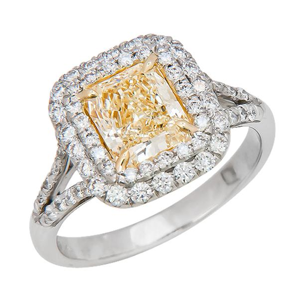 View Double Halo Split Shank Natural Yellow Diamond Ring Set in Platinum and 18K Yellow Gold