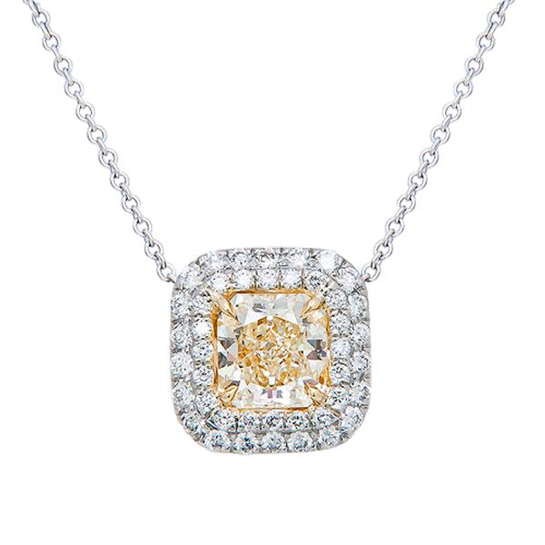 View Double Halo Natural Yellow Diamond Pendant Set in Platinum