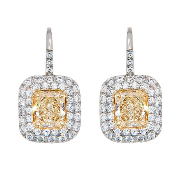View Double Halo Euro Back Natural Fancy Yellow Dianond Earrings Set in Platinum and 18K