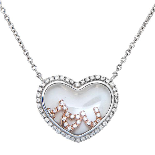 View Diamond Heart Pendant with I Love You Set in 18k White and Rose Gold