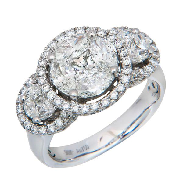 View Three Stone Halo Design Illusion Ring Set in 18K White Gold