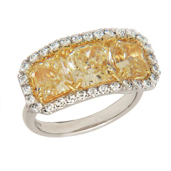 View Custom Made Three Stone Natural Yellow Diamond Ring in a Halo Design set in Platinum and 18k