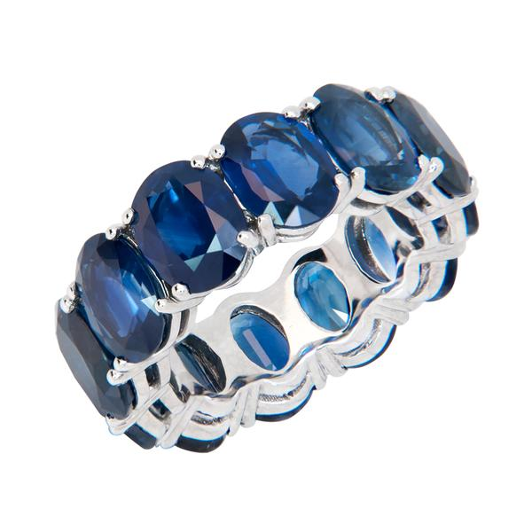 View Custom Made Oval Shape Sapphire Eternity Band set in Platinum