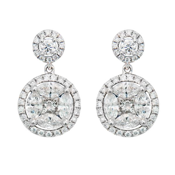 View Diamond Drop Earrings set in 18k White Gold and Part of our Illusion Collection