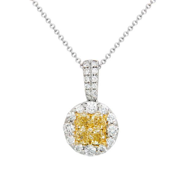 View Natural Yellow Diamond Illusion Pendant in a Halo Design