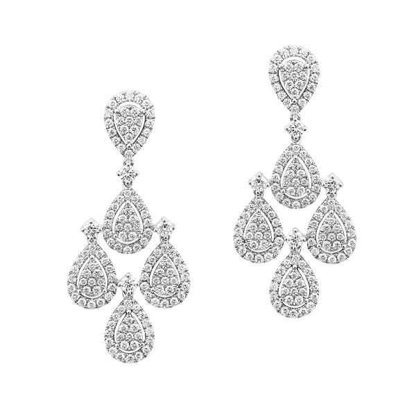 View Diamond Chandelier Earrings set in 18k White Gold