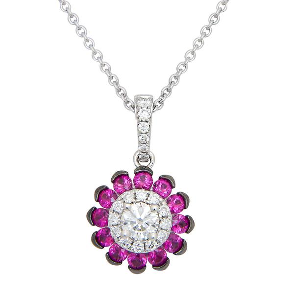 View Ruby and Diamond Pendant  with a Sunburst Design set in 18k White Gold