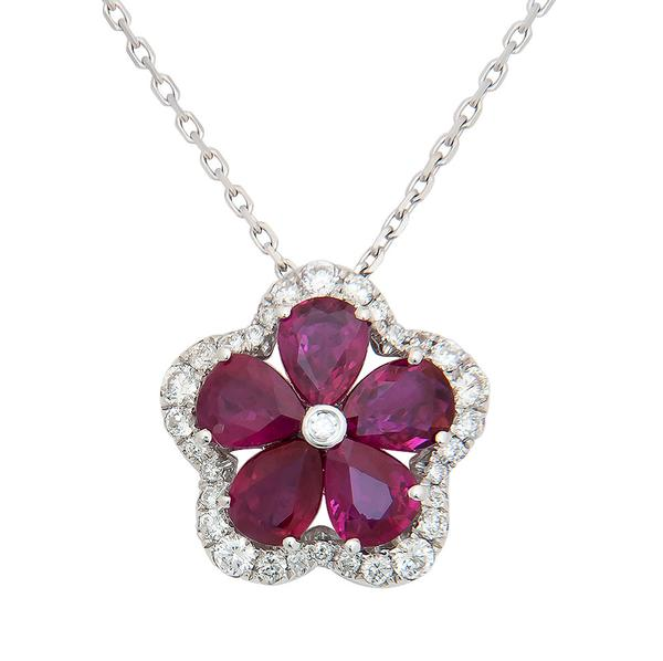 View Ruby and Diamond Flower Design Pendant set in 18k White Gold