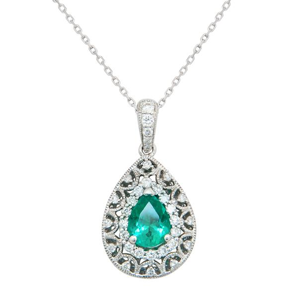 View Emerald and Diamond Antique Look Pendant set in 18K White gold