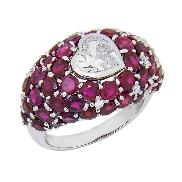 View Dome Designed Heartshape Diamond and Ruby Ring Set in Platinum