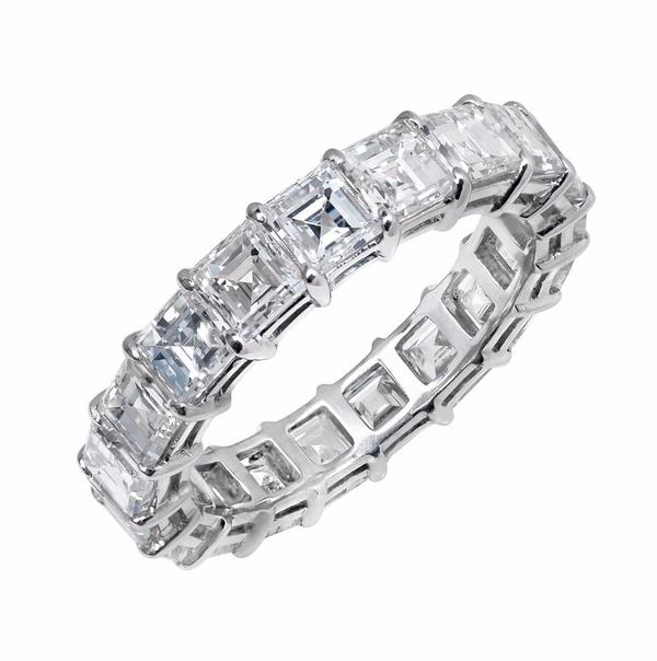 View Asscher Cut Diamond Eternity Band Set in Platinum