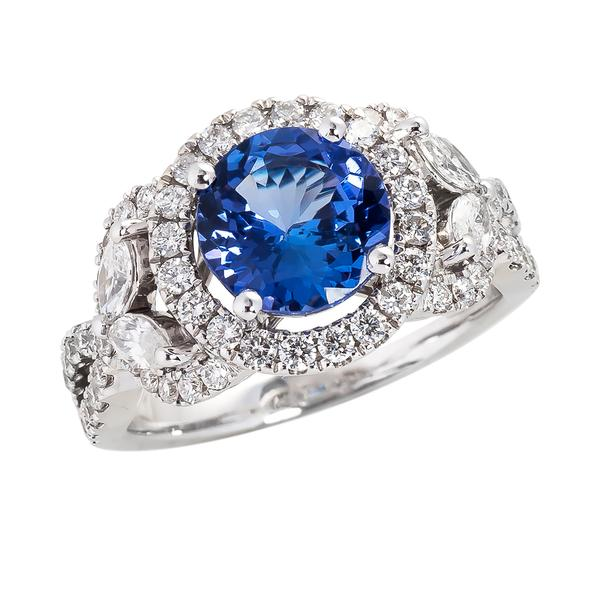 View Tanzanite and Diamond Ring in a Halo Design Set in 18K White Gold