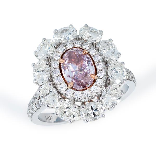 View Natural Fancy Purple Pink Diamond Set in a Halo Ring