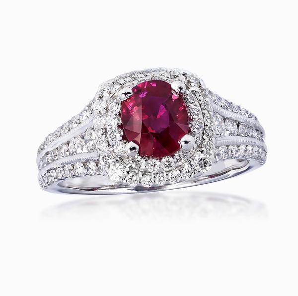 View Ruby and Diamond Ring set in 14k White Gold