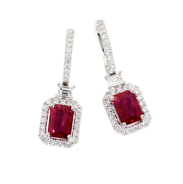 View Ruby and Diamond Euro Back Set in 18k White Gold Halo Design