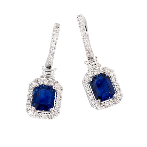 View Sapphire and Diamond Euro Back Set in 18k White Gold Halo Design