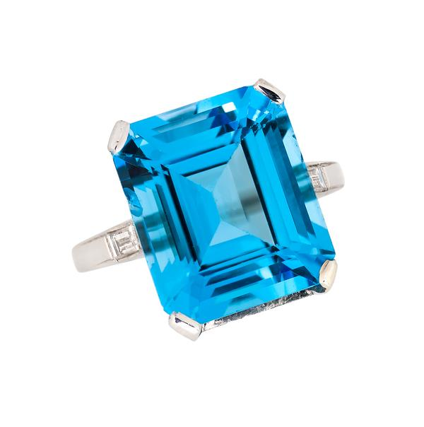 View Blue Topaz and Diamond Ring Set in Platinum.  Princess Diana/Meghan Inspired.